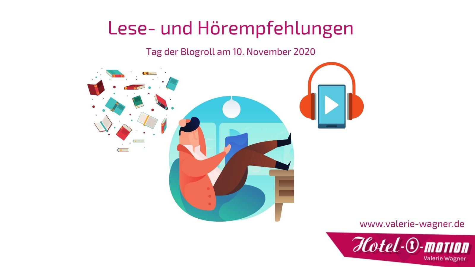 Die Grafik zeigt eine Comicfigur die in einem Sessel liest. Links oben fliegen bunte Bücher und rechts sieht man ein Smartphone mit Headset. Ein Symbolbild für den Tag der Blogroll am 10. November und meine Empfehlungen für Blogs und Podcasts.
